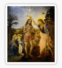 Leonardo da Vinci and Andrea del Verrocchio - The Baptism of Christ (1475) Sticker