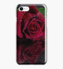Dark Red Rose with reflection iPhone Case/Skin