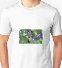 Eastern Tiger Swallowtail Butterfly on Purple Flowers T-Shirt