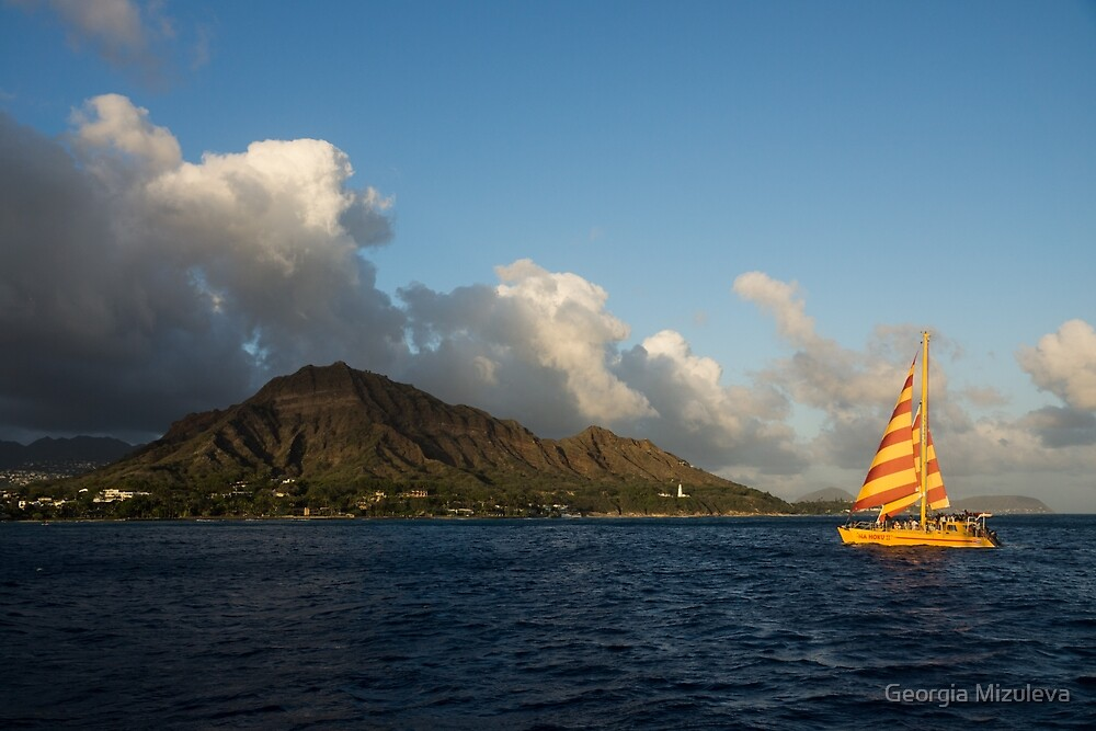 Cheerful Orange Catamaran and Diamond Head, Waikiki, Hawaii by Georgia Mizuleva