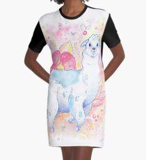 Cute Llama Illustration - Watercolour Animals Graphic T-Shirt Dress