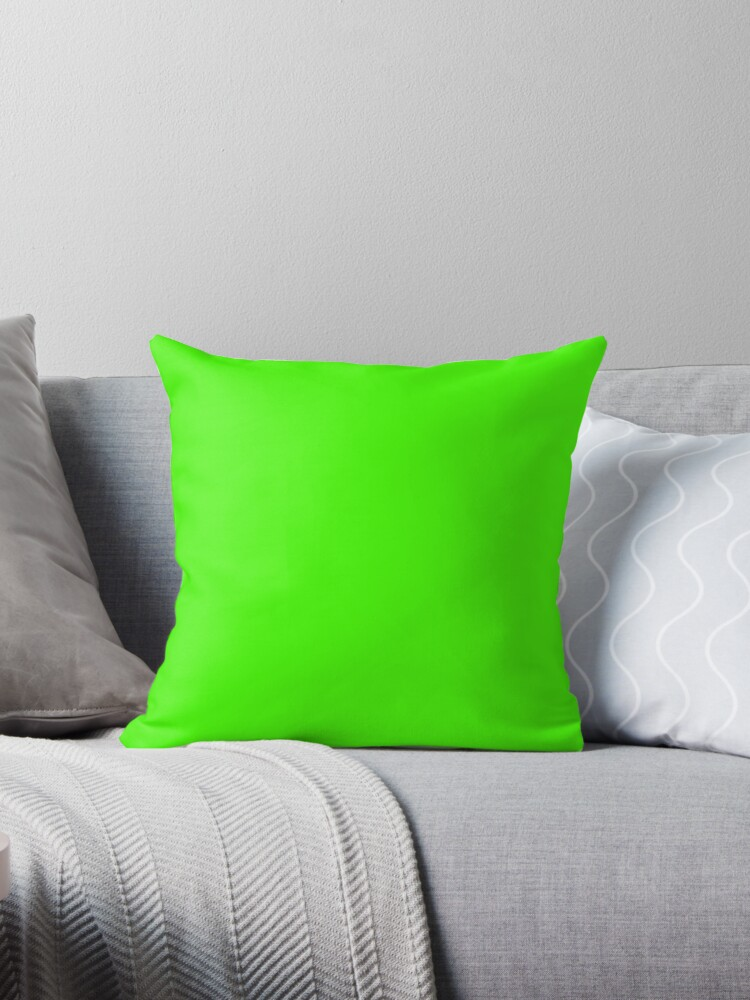 PLAIN SOLID COLOR NEON FLUROESCENT GREEN  by ozcushions