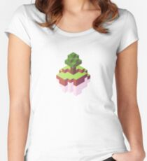 Minecraft Simple Floating Island - Isometric Women's Fitted Scoop T-Shirt