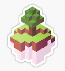 Minecraft Simple Floating Island - Isometric Sticker