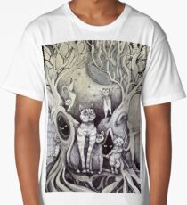 they danced under the light of the moon cat art Long T-Shirt