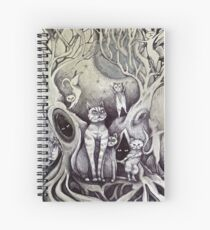 they danced under the light of the moon cat art Spiral Notebook