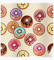 I Love Donuts Yummy Baked Goodies Sugary Sweet Poster