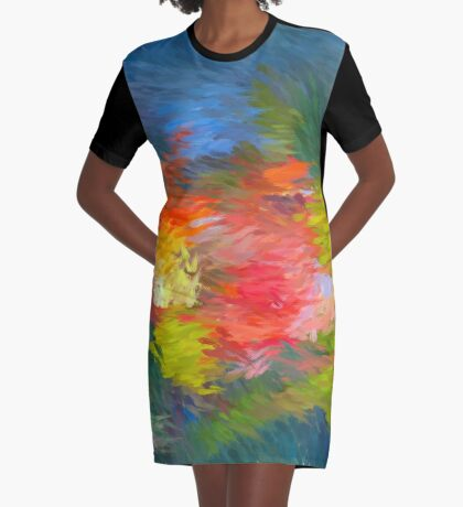 Painted Flower Through Glass Graphic T-Shirt Dress