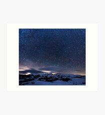 Starry Night Sky Winter Mountain Art Print
