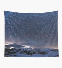 Starry Night Sky Winter Mountain Wall Tapestry