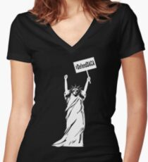 Lady Liberty Defend DACA Women's Fitted V-Neck T-Shirt