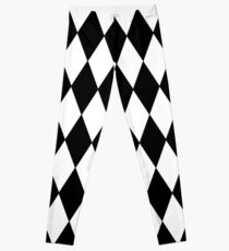 LARGE BLACK AND WHITE HARLEQUIN- DIAMOND- ARGYLE  PATTERN DESIGNED FOR HOME DECOR AND CLOTHING Leggings