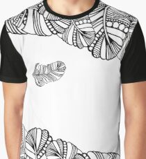 Hand Drawn Black & White Feather Background Graphic T-Shirt