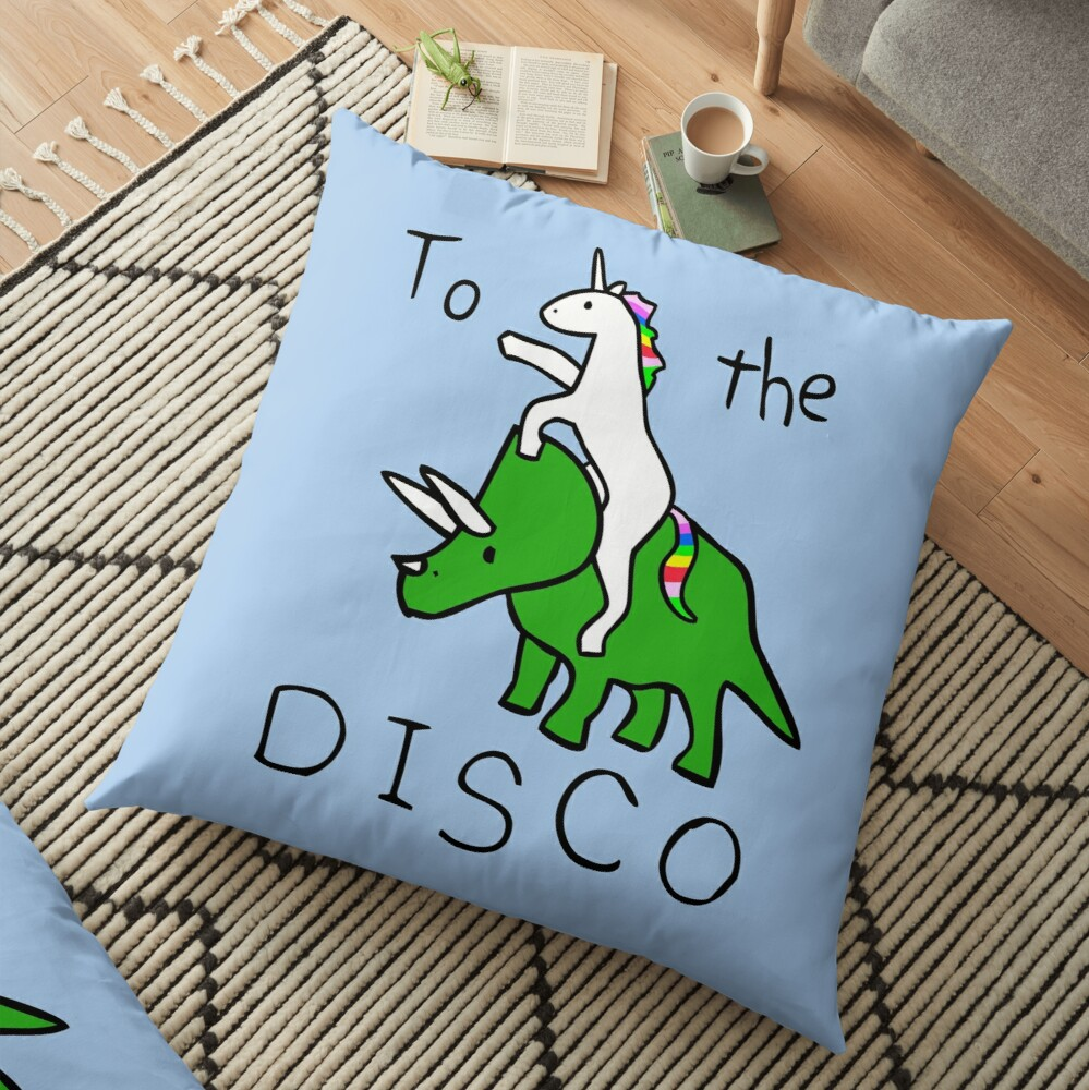 To The Disco (Unicorn Riding Triceratops) Floor Pillow