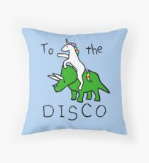 To The Disco (Unicorn Riding Triceratops) Throw Pillow