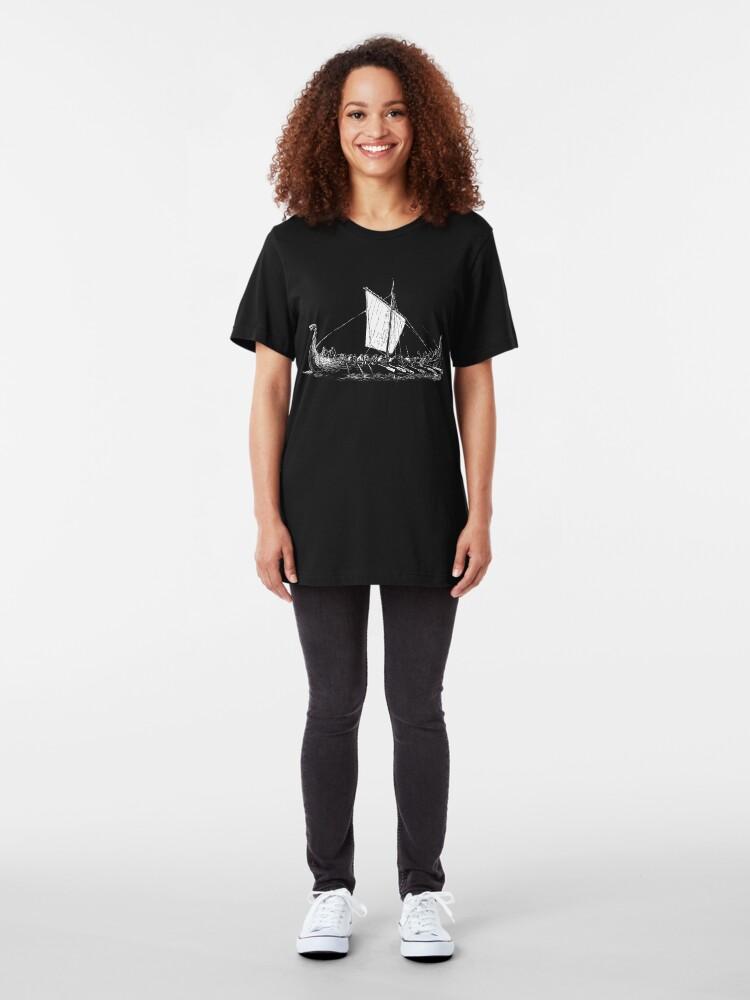 Alternative Ansicht von Viking Motive > Viking Boat > Long Boat Slim Fit T-Shirt