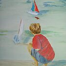Boy a with boats by Susan Brown