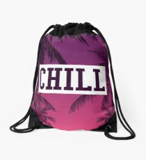 Tropical Chill Quote Drawstring Bag