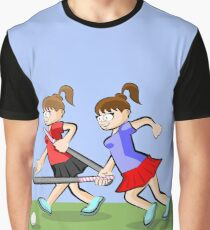 Two hockey girls having fun while competing Graphic T-Shirt