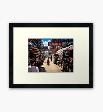 Auntie pushes her shopping Framed Print