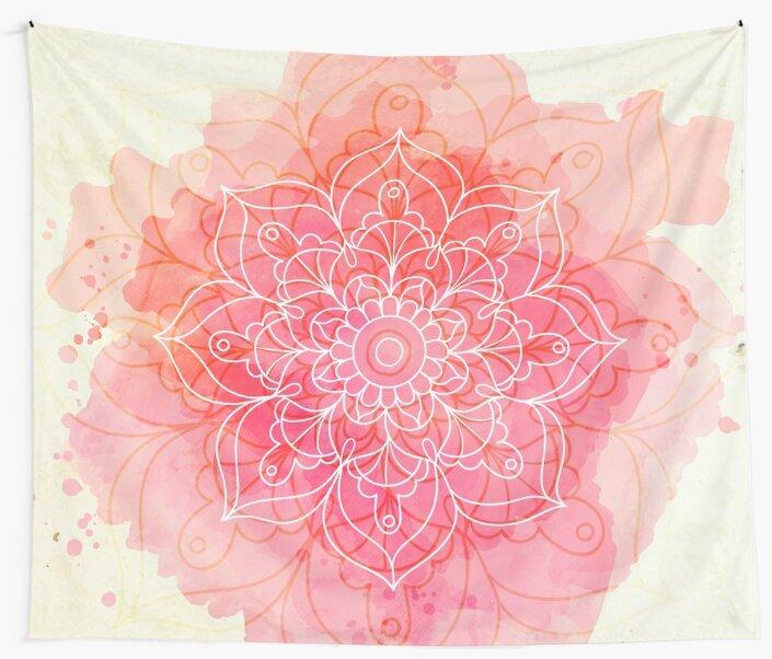 Pink Watercolor Mandala by cadinera