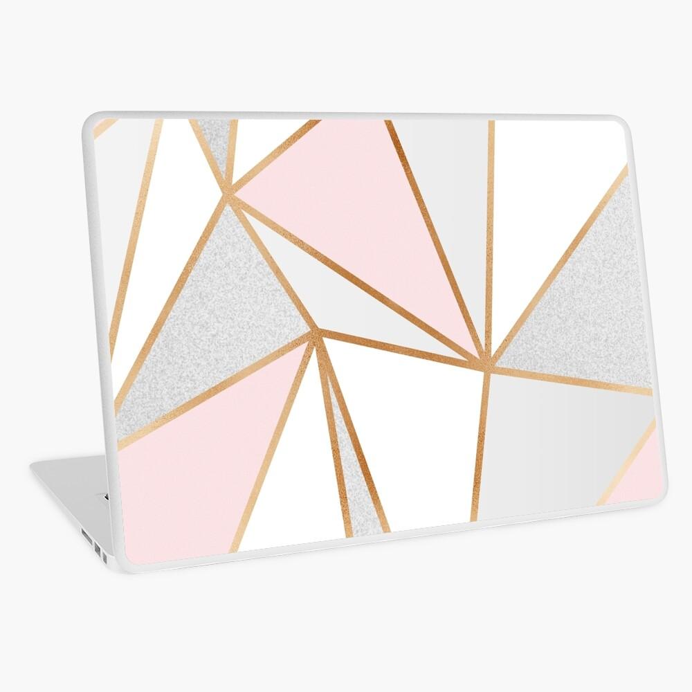 Pink, Grey & Gold Geo Laptop Skin