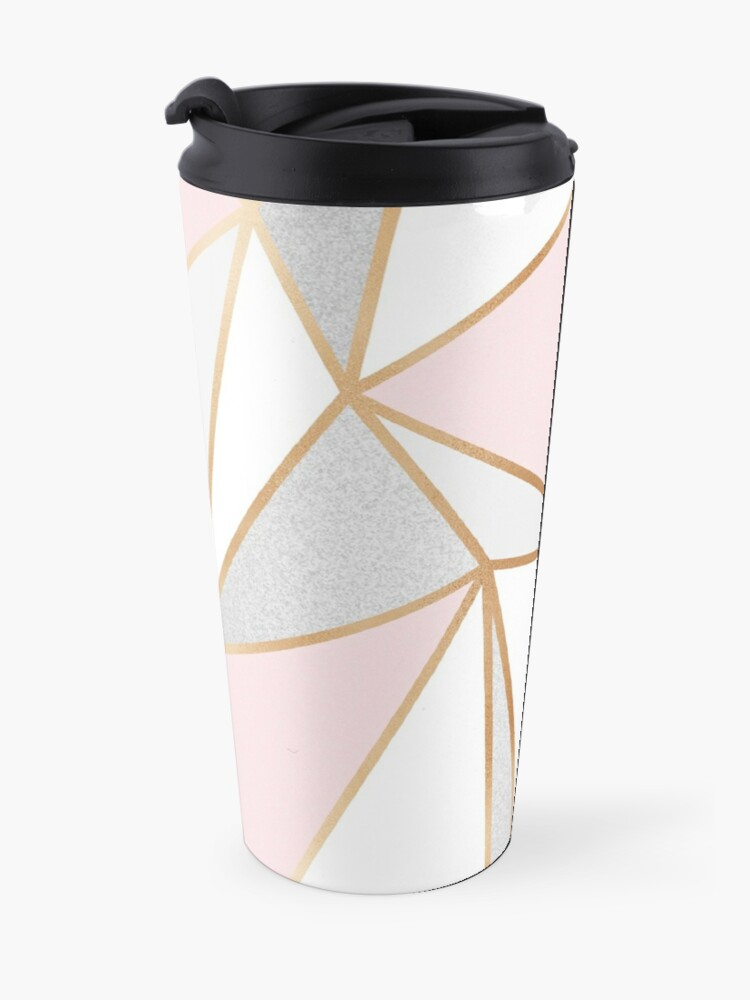 Alternate view of Pink, Grey & Gold Geo Travel Mug