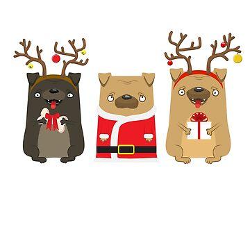 Lovely pug with deer horns and pug Santa Claus by vasilixa