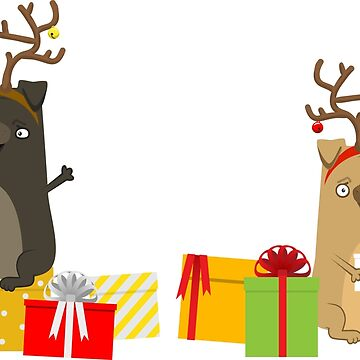 Lovely pug with deer horns with presents by vasilixa