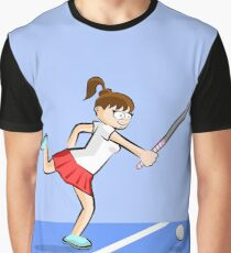 hockey girl trying to hit the ball with her cane Graphic T-Shirt
