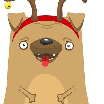 Pug with deer horns by vasilixa