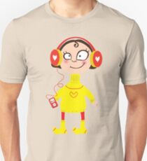 Cartoon girl in a yellow sweater and wool socks. In the headphones with the player T-Shirt