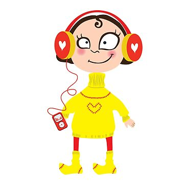 Cartoon girl in a yellow sweater and wool socks. In the headphones with the player by vasilixa