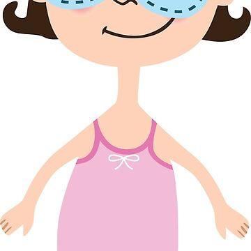 Cartoon girl in pink sleepwear with sleeping mask on eyes. Princess with crown by vasilixa