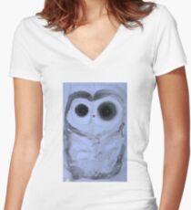 Neutral Owl Women's Fitted V-Neck T-Shirt