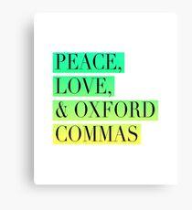 Lienzo Paz, amor y Oxford Commas Trinity