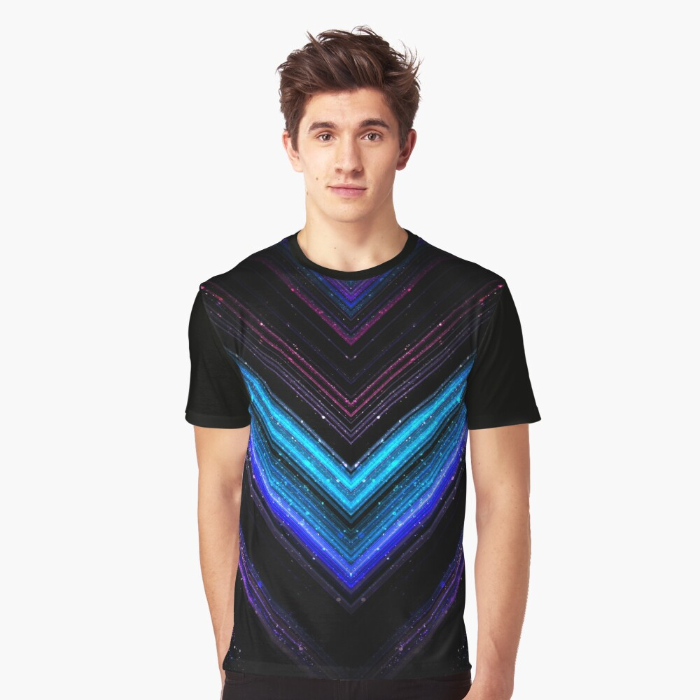 Sparkly metallic blue and purple galaxy lines Graphic T-Shirt Front