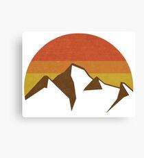vintage mountain sunset icon Canvas Print