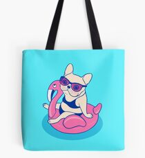 Frenchie enjoys Summer on Flamingo Pool Float in swimming pool Tote Bag