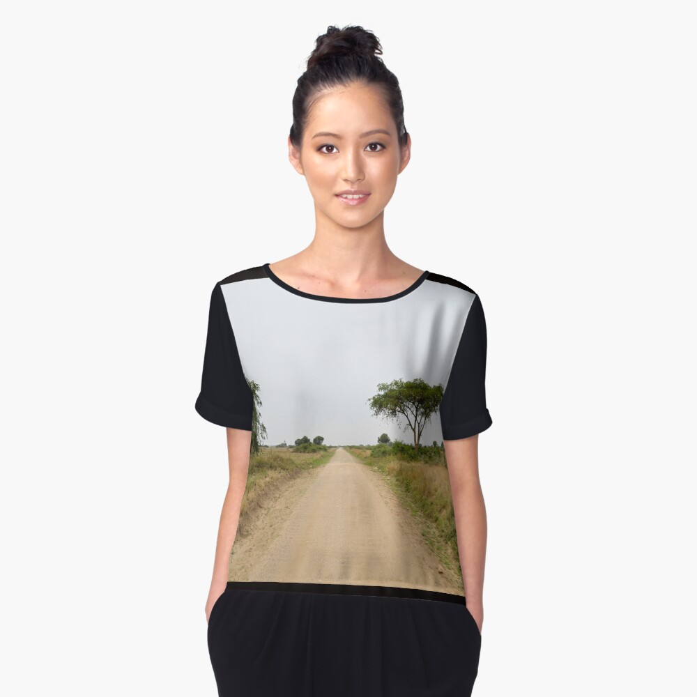 road in the African savanna Women's Chiffon Top Front