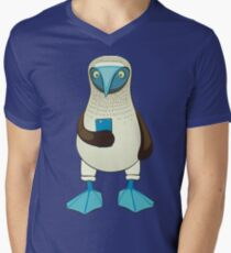 Blue-footed Booby with Phone Men's V-Neck T-Shirt