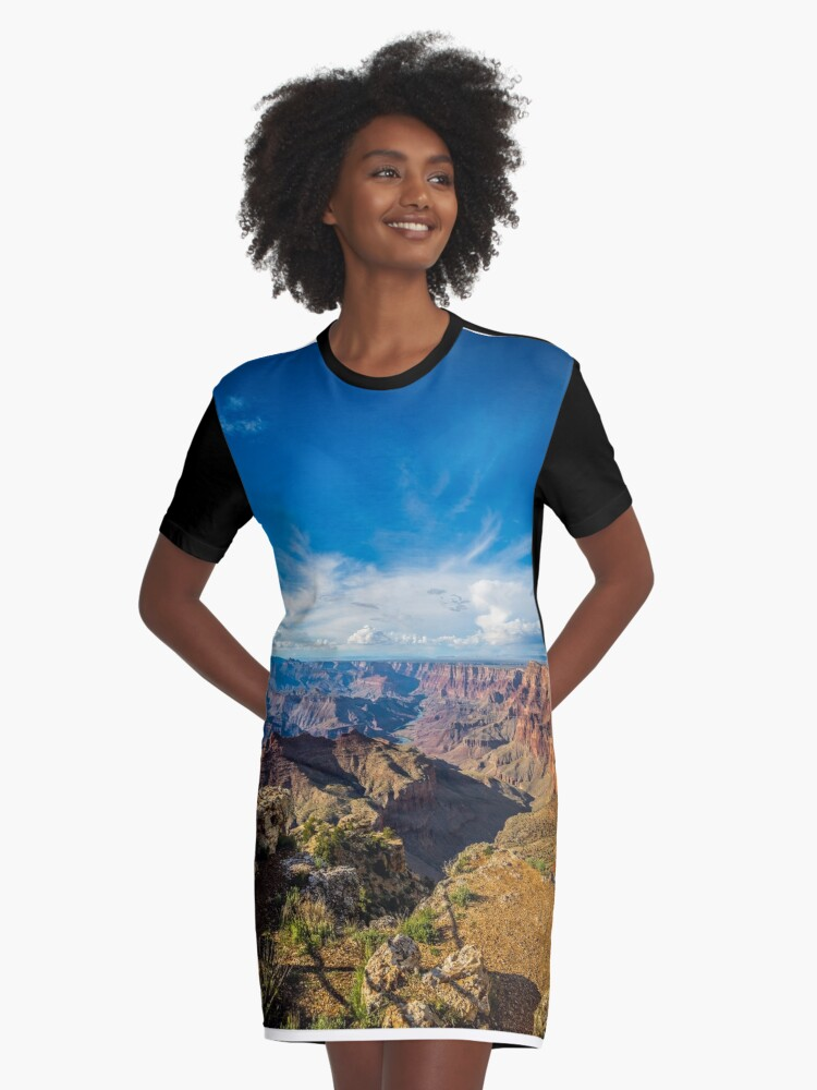 Grand Canyon - Navajo Point View Colorado River Graphic T-Shirt Dress Front