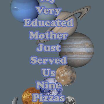 Planets Mnemonic - No Pizza by peaceofpistudio