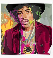 Colorful Jimi Hendrix  Poster