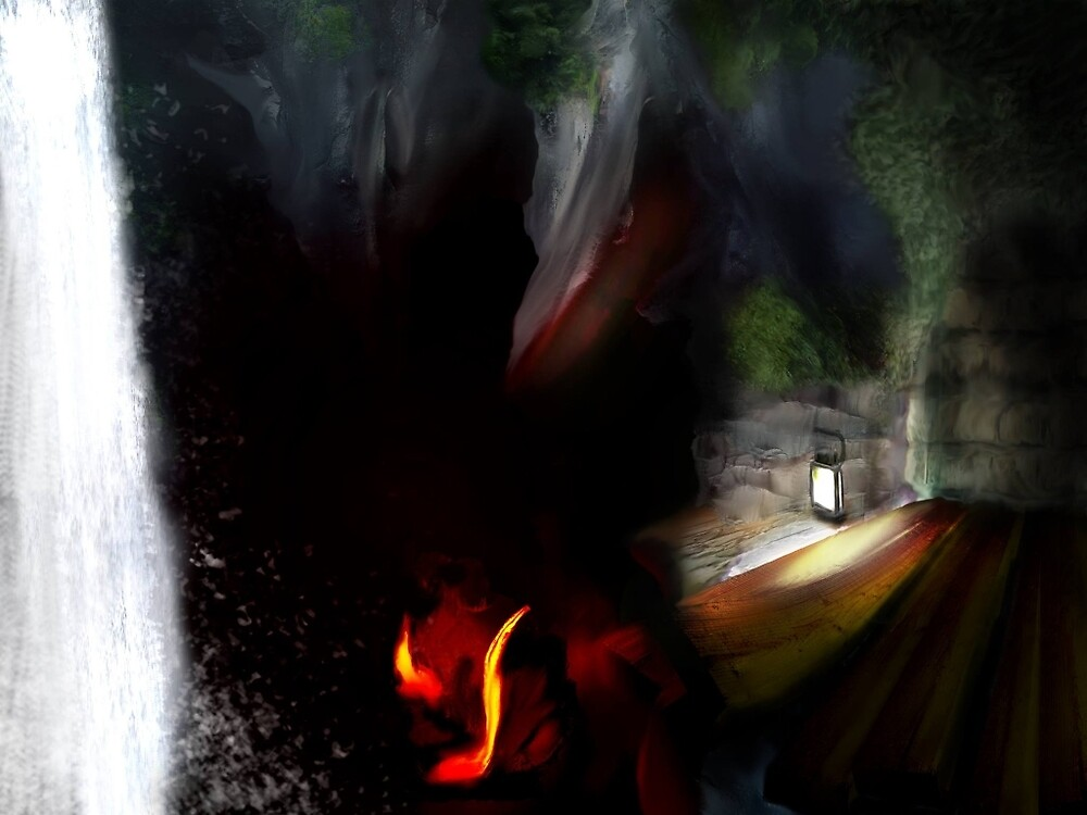 Cave system concept art  by Darrel Leigh