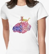 A cat walking on a brain T-Shirt