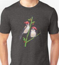 birds in winter tree christmas scene on green background T-Shirt