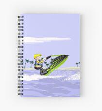 Boy breaking waves with Jet Ski Spiral Notebook