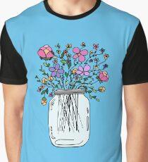 Mason Jar with Flowers Graphic T-Shirt