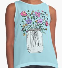 Mason Jar with Flowers Contrast Tank